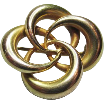 Signed Victorian 14K Yellow Gold Love Knot Brooch Pin 2.69 grams!