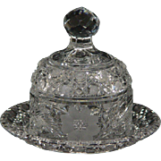 American Brilliant Cut Glass Butter Dish