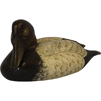 Wooden Canvasback Decoy by Max Thompson