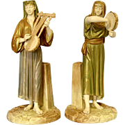 Royal Worcester Hadley Pair of Egyptian Figurines