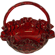 Ruby Red Glass Basket