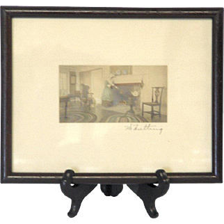 Wallace Nutting Hand Signed Color Photograph, Woman by Fireplace