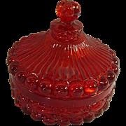 Ruby Glass Eyewinker Covered Dresser Jar - Red Tag Sale Item