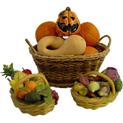 Doll House Baskets of Pumpkins and Fruit