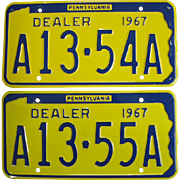 1967 Pennsylvania New Car Dealer License Plates