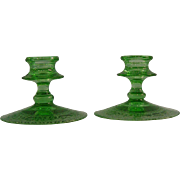 Fostoria Vesper Green Candle Holders