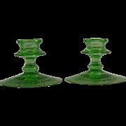 Fostoria Vesper Green Candle Holders