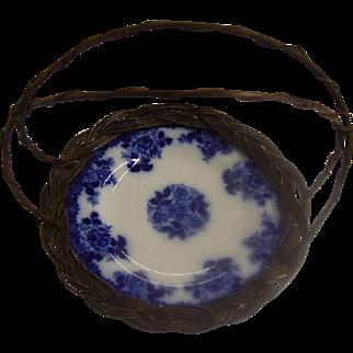 Antique Flow Blue Plate Basket