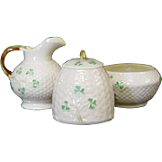 Belleek Sugar, Creamer and Honey Pot