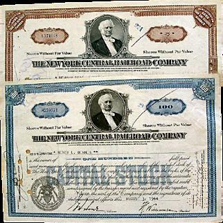 New York Central Railroad Stock Certificates
