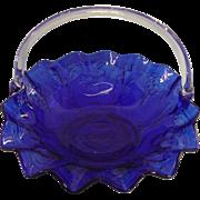 Vintage Indiana Glass Company Cobalt Blue Basket
