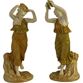 Pair of Antique Royal Worcester Female Bacchante Figures