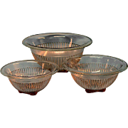 3 Pink Depression Glass Mixing Bowls Square Foot Rolled Edge Ext Ribbed