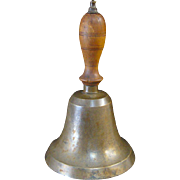 Early Brass School House Bell, Wood Handle