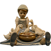 Lladro Figurine #5074 My Hungry Brood, Girl with Ducks
