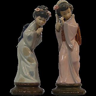 2 Lladro Figurines #4989 Sayonara & #4990 Timid Japanese