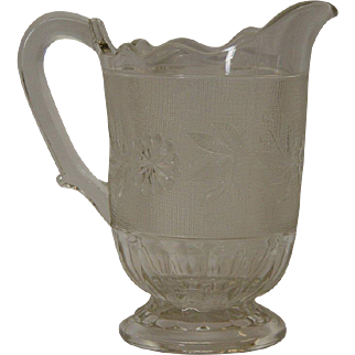 Early American Pattern Glass Dahlia Pattern Pitcher
