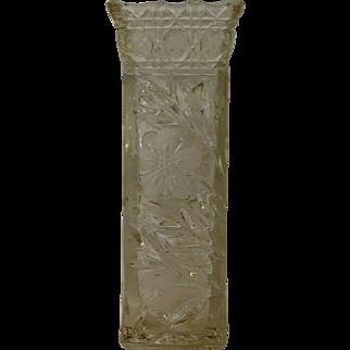 Heavy Square Cut Glass Vase