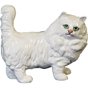 Beswick Persian Standing White Cat with Green Eyes
