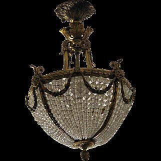 Antique French Doré Bronze & Crystal Fixture