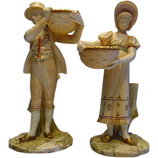 Antique Royal Worcester Boy & Girl Carrying Baskets