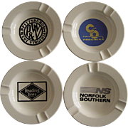 4 Vintage Railroad Ashtrays