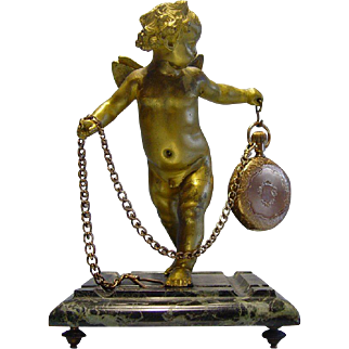 Doré Bronze & Marble Cherub Pocket Watch Holder