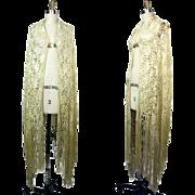 1920s Ivory Silk Ribbon Work Macrame Crochet Shawl with Fringe