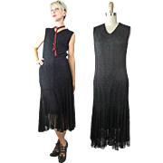 Early 1930s Silk Lined Lace Dress