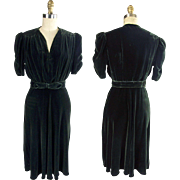 Late 1930s Deep Forest Green Rayon Velvet Dress