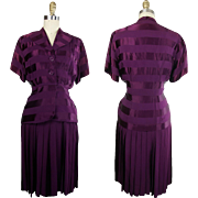 1950s Formfit Pleated Peplum Dress in Violet Rayon Damask Stripe