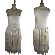 1920s Ivory Silk Dress with Lace and Rhinestones XS