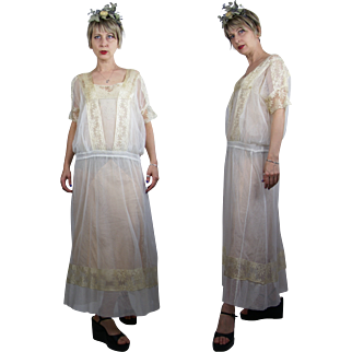 1920s Ivory Silk Net with Lace Dress