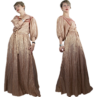 Late 1970s Albert Nipon Copper and Gold Striped Lamé Maxi Dress