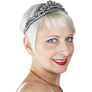 1920s Tiara with Rhinestones and Metal Chain