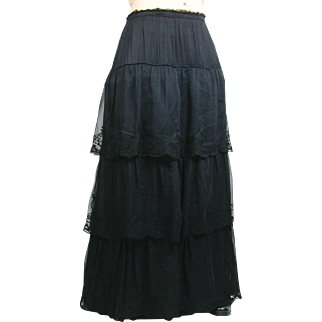 Edwardian Black Silk Tiered Skirt with Embroidery