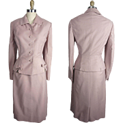 1950s Ladies Vintage Mauve Suit with Rhinestone and Bow Trim - Red Tag Sale Item