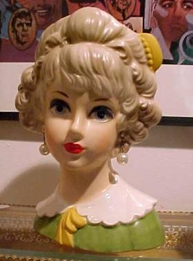 Lark Lady Head Vase Blond with Barrette HTF