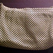 Whiting & Davis Cream Large Mesh Handbag Purse