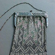 Whiting & Davis Mesh Enamel Patterned Purse