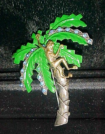 Figural Monkey in Enamel & Rhinestone Palm Tree