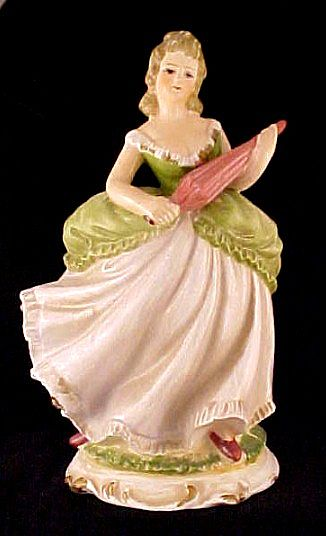 Lefton Lady Figurine Planter Umbrella Parasol