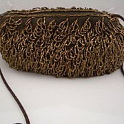 Vintage Glass Beaded Barrel Shape Purse