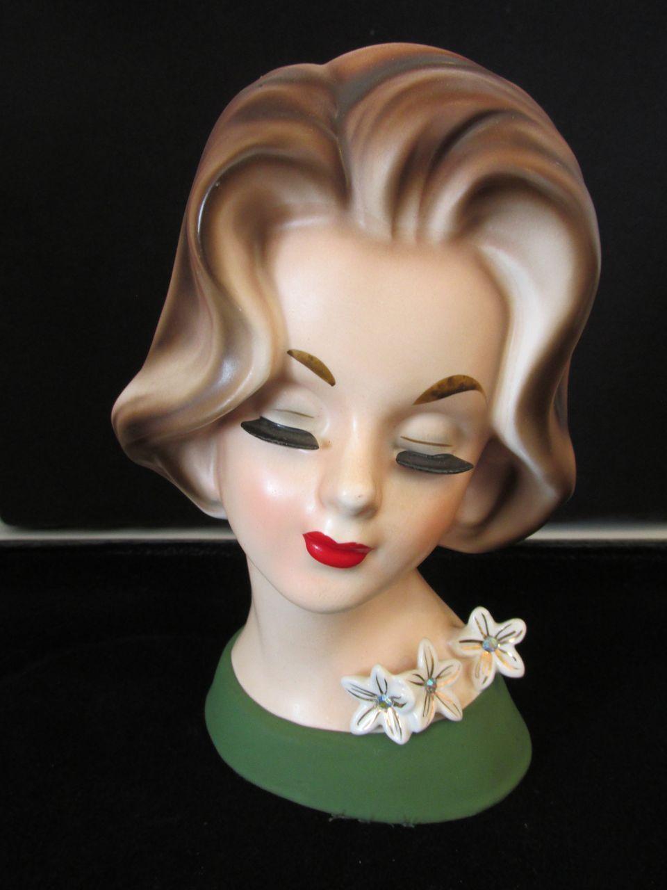 """Vintage Lady Head Vase 7"""" Napcoware"""