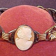 Vintage Cameo & Floral Pattern Bracelet Signed