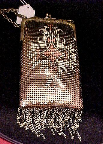 Whiting & Davis Bronze-tone Handbag with Design