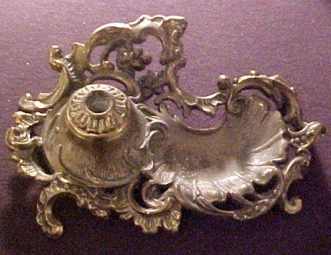 Vintage Art Nouveau Gilt Metal Pen Holder