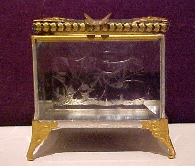 Vintage Etched Glass Trinket Box Butterfly