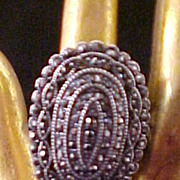 Vintage Large  Oval Marcasite Ring