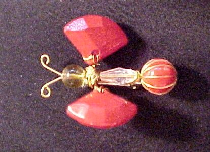 Vintage Red Wired Bug  Pin Trembler